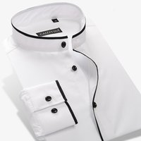 Wholesale Mens Dress Shirt Color Solid - Wholesale- Men's Mandarin Collar Shirt 100% Cotton Long Sleeve Slim Solid Color Mens Business Casual Dress Shirts