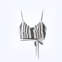 Wholesale Sexy Strapless Tube Top Women - Contrast Color Summer New Women's Clothing Fashion Stripe Bandage Short Crop Camisole Strapless Tube Top with Falsies Female Tanks