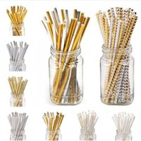Wholesale baby showers - 100PCS Gold Drink Paper Straws Birthday Party Supplies Theme Polka Baby Shower