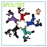 Wholesale Wholesale Iron Dragonflies - 5Pcs Set Dragonfly Rotary Tattoo Machine Shader & Liner 7 Colors Assorted Tatoo Motor Gun Kits Supply For Artists