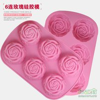 Wholesale Silicone Cake Floral Moulds - DIY 6 in1 3D Rose Floral Cake Chocolate Pudding Mold Cutter Silicone Mould Baking Tools pastry molds soap mold