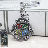 Wholesale College Promotions - Fashion Accessories Harry Potter Movie College Logo Key Chain Keyring Keychain Fashion Chaveiro Llavero Key Ring Key Holder porte 10pcs