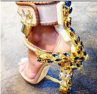 Wholesale crystal button buckles resale online - Summer Luxury Designer Shoes Woman Metal High Heel Crystal PVC Gladiator Sandals Padlock Bejeweled Ankle Strap Rhinestone Sandal