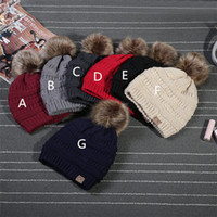 Pom Poms Winter Hat 2017 New Women Fashion Solid Warm Caps Knitted Beanies Cap Brand Thick Female Cap Wholesale