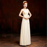 Wholesale Braidsmaid Dresses - elegant champagne women long chiffon adult bridesmaid dress braidsmaid dresses one shoulder gowns for a wedding guest H1981