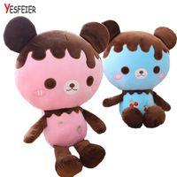Wholesale Teddy Bear Chocolates - 60cm Cute Chocolate bear plush toys baby birthday bear pillow Cushion stuffed plush doll