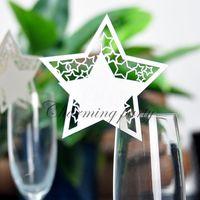 lazerle kesilmiş kâğıt cam toptan satış-50 adet Yıldız Yeri Isim Kartı Lazer Kesim Düğün Masa Adı Kart Elegent Şarap Cam Koltuk Kartı Kağıt Etiketleri Parti Dekorasyon