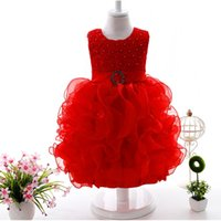 vestidos de fiesta al por mayor-Ropa para niños de bebé Vestidos de niñas de flores de verano fiesta de fiesta del niño lindo vestido de bola del concurso de princesa ress TuTu falda vestidos de tul vestidos de tirantes