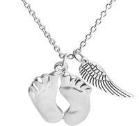 collar de bebé niños al por mayor-Cute Little Feet Angle Wing Colgantes Collares 925 Sterling Silver Love Jewelry Baby Necklace Chrismas Gift para su hijo Regalo de Navidad