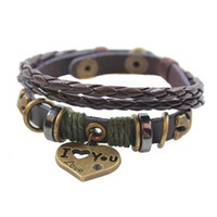 Wholesale Bracelets Brown Love - Brown Vintage Heart Leather Braided Bracelets Multilayer Charms Bracelet Fashion Snap Jewelry For Women Men 1 Pcs