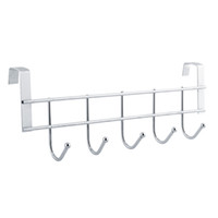 Wholesale Bathroom Towel Shelves - 2017 Hot Sale 5 Hooks Stainless Steel Clothes Hooks Door Bathroom Kitchen bedroom Towel Hanger hanging Loop Organizer