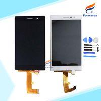 huawei p7 sayısallaştırıcı toptan satış-Toptan-Huawei Ascend P7 Lcd Ekran için 100% Garanti Dokunmatik Ekran Digitizer + Araçları ile montaj SiyahBeyaz 1 parça ücretsiz kargo