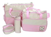 Wholesale Mummy Bag Set Pieces - Wholesale- Mother infanticipate mummy Babies bags fashion nappy bag multifunctional double-shoulder cross-body 5 piece set