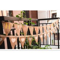 Vente en gros - Vintage Jute Banner Bunting Flag Happy Birthday Pennant rustique Birthday Party Favors Decoration