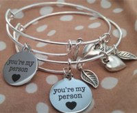 Charm Bracelets stack bangles - 12pcs You re My Person Silver toned Expandable Stacking Bangle Grey s Anatomy themed Best Friends Bracelet
