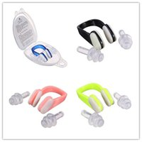 Wholesale Silicone Ear Clip - Soft Silicone Swimming Nose Clips + 2 Ear Plugs Earplugs Gear with a case box Pool Accessories Water Sports