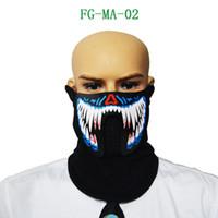 döngü ateş toptan satış-Toptan-Sıcak Satmak Serin LED Ses Kontrolü Büyük Terör Maskeleri Bisiklet Binme Açık Maske Soğuk Işık Kask Yangın Festivali Parti Parlayan Maskeler