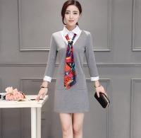 Wholesale Grey Collared Shirt Woman - Cheapest Shirt Collar Fake Two Pieces Long Sleeves Dress Grey