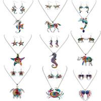 Wholesale Enamel Starfish - Enamel Earrings Necklace Set Silver Gold Plated Sea Horse Elephant Starfish Pendant Enamel Jewelry Women Gift