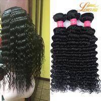 saç örgüsü üst parça toptan satış-Toptan fiyat Malezya Derin Dalga Saç Dokuma% 100% İnsan Saç Dokuma Paketler Saç Doğal Siyah Renk # 1B Ücretsiz Kargo 100 g / adet