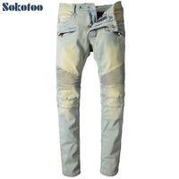Wholesale light color jeans for men - Wholesale- Sokotoo Men's light color pleated biker jeans for moto Casual slim straight stretch denim pants Long trousers