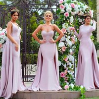 Elegant Light Purple Long Sleeve Bridesmaid Dresses Mermaid Satin Detachable Train Applique Sequins Mismatched Maid of Honor Gowns Evening