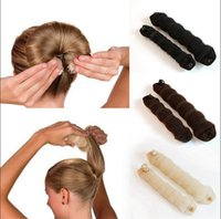 Wholesale Bun Coffee - Hot Buns Hair Style Bun Maker Large Small Size Twist Curler Black Beige Coffee Color Hair Styling Dount Magic Sponge Hair Disk Band