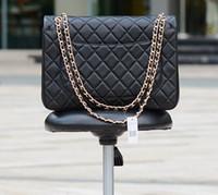 Wholesale Plain Maxi Dresses - Factory Sell Brand 24cm New Jumbo Lambskin Double Flap Bag w Silver Hardware Black Maxi Genuine Leather Gold Chain Flap Bag Women Handbags