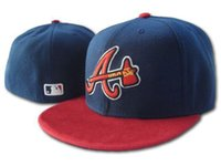 Wholesale Dome Full - 2017 New top Sale Navy7 Color Atlanta Braves Fitted Hats Men's Flat Fashion Sport Baseball Embroideried A Letter Full Closed Size Caps