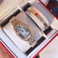 Wholesale Girls Watch Sets - Dress 2 sets ladies watches & bracelet luxury brand diamond bezel Full Stainless Steel band fashion quartz watch for women female girls gift