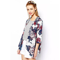 cardigans de gasa al por mayor-Al por mayor-moda para mujer mayor de los zapatos de otoño de la rebeca de la gasa de la blusa kimono Impreso Escudo Poncho suelta chaqueta informal regalos Camisola Feminina