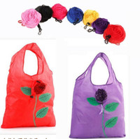 Wholesale Wholesale Foldable Grocery Bags - Rose Foldable Shopping Bag Flowers Recycle Tote Bags Travel Grocery Bags Recycling Eco-friendly Shopping Bags OOA3029