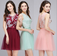 Wholesale Stock Cocktail Dresses - $28.99 Mint Pink Short Homecoming Dresses 2018 Cheap In Stock Lace Tulle Cocktail Party Dress Burgundy Graduation Gowns CPS710