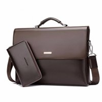 Wholesale Soft Leather Laptop Bags - Designer Handbag High Quality PU Leather Messenger Bag Famous Brand Business Laptop Computer Handbag Briefcases Men Tote Bag Set