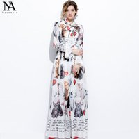 Wholesale Bell Stand - New Arrival 2017 Summer Women's Sash Bow Collar Characters Printed Ruffles Long Sleeves Elegant Maxi Dresses