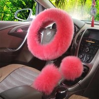 Wholesale Pink Car Wheel Cover - 3pcs set Pink Wool Plush Car Steering Wheel Cover Sets Spring Fur Leather Handle Sleeves Five Colors Car Supplies