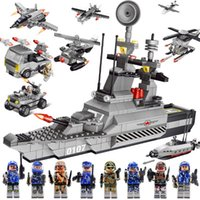 Wholesale Military Model Building - Military Blocks Fancy Toy Mini Building Block Figures Aircraft Carrier Model Playmobil Toys For Children Assembles Baby Toys Boys Girls Gift