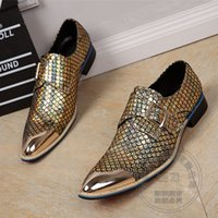 Wholesale Diamond Glitter Sparkling Leather - Designer Hand Made Colorful Punk Sparkle Mens Shoes Genuine Leather Luxury Mens Loafers Nice Diamond Runway Club Flats Belt Monk