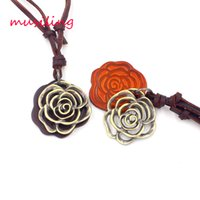 Wholesale brass heart keys - Leather Necklace Pendants Rose Key Accessories Metal Pendulum Amulet Hip Hop Women Mens Decorations Gifts musiling Jewelry