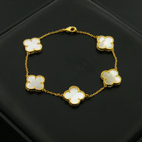 Wholesale Black Onyx Gold Ring - luxury brand White shell Black Onyx malachite five flower Clover Bracelets 18K gold Fine Jewelry for women gift Nickel Free
