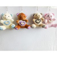 9cm Dot Heart Teddy Bear Cartoon Stuffed Toy Plush Toy Pendant Bag Keychain Porte-clés de voiture pour sac en colombage Wedding Christmas Gift