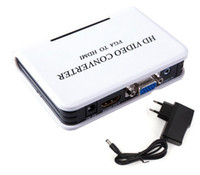 adaptador de proyector mini hdmi al por mayor-DHL Mini HD 1080P Audio VGA a HDMI HD HDTV Video convertidor de la caja de conversión con cable para PC portátil a HDTV proyector