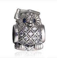 Wholesale European Cz Crystal Beads - Topeasyjewelry Spring Wisdom Owl Charms With Blue Crystal 925 Sterling Silver Micro CZ Pave Animal Beads Fit Brand Bracelets & Bangle Diy