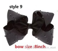 Wholesale Large Alligator Clips Wholesale - 9 style ! 8inch LARGE BLACK WITH RHINESTONES BOW jojo hair bow Alligator clip for girls toddler Sparkle Bows Cheer Ombre bow 25pcs