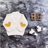 Wholesale Girl Love Cardigan - Baby kids knitting coats boys girls V-collar love-heart embroidery outwear Intants single-breasted all-match tops 2017 kids clothes G0700