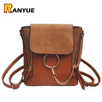 Vente en gros - Double Zipper Chain Ring Shoulder Crossbody Bags For Women Vintage Nubuck Leather Bags Women Handbags Famous Brands Female Bag