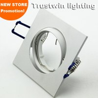 Wholesale Downlight Holders - Wholesale- 4 pieces spot bulb fixture Halogen white GU5.3 GU10 MR16 square Ceiling downlight fixture fitting down led lamp light holder