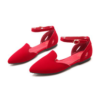 Wholesale Simple Flat Wedding Shoes - Summer and autumn fashion flat with pointed, matte, shallow buckle, pure color, simple women's shoes E1266