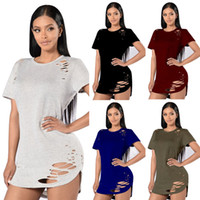 Wholesale Sexy Women Tees Sale - 5 Color Holes Tee T-Shirt for Women Short Sleeves Hollow Cut Out Dress Shirt Hot Sale Sexy Ladies' Casual T-Shirts Summer NY057 Free Shippin