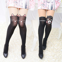 Wholesale Cute Cat Tattoos - Wholesale-Women's Black Cartoon Thin Tights Cute Patchwork Cat Dog Rabbit Tattoo Pantyhose 3ED A2PX